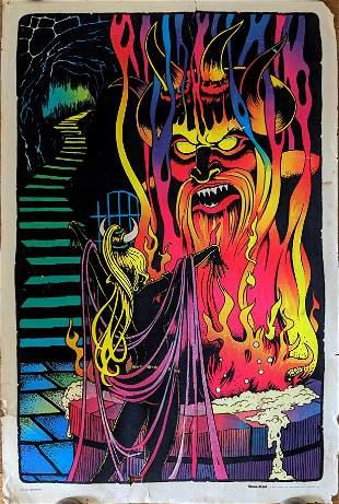 Vintage Black Light Poster Velva-Print, 1976
