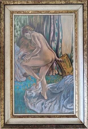 Vintage Fine Art Pastel Painting After Degas, Signed