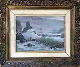 BILL LAYNE (1911 - 2005) Oil with Ocean Crashing Waves,