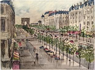 Vintage Fine Art Watercolor with Paris Street View,