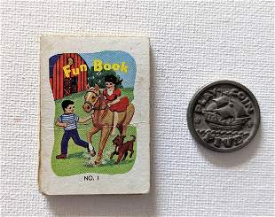 Vintage Miniature Fun Book and Five Play Coin