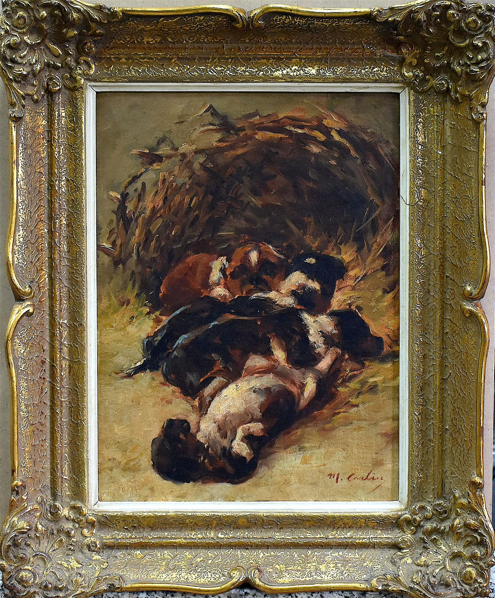 Max Carlier (1873-1938) Puppies Oil on Canvas/Oak Panel