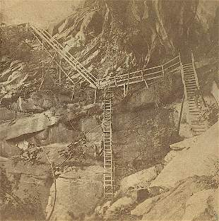 Antique Real Photo Stereoview Ladders Yosemite CA
