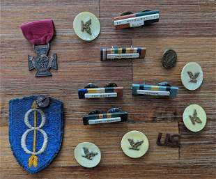 Vintage Collectible Set Military Badges and Pins