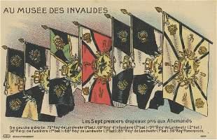 Rare Antique Vintage Postcard  Flags Au Musee Des