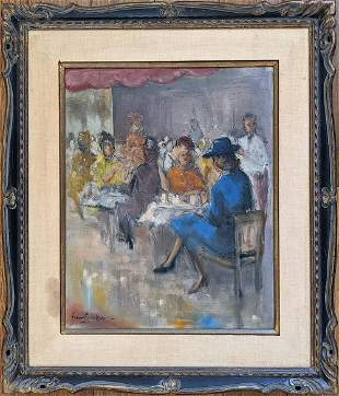 Well Done Oil Painting with Ladies at the Café, 1940s