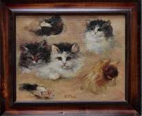 R. Meyer Study of Kittens Oil on Canvas