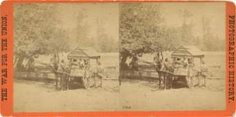 Real Photo Stereoview Civil War Water Cart Soldiers