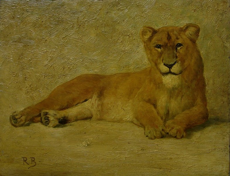 Female Lion on oak panel. Signed R.B.?