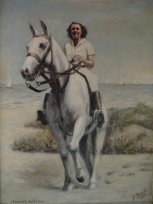 Oil on canvas with woman on white horse. Thonet 1937
