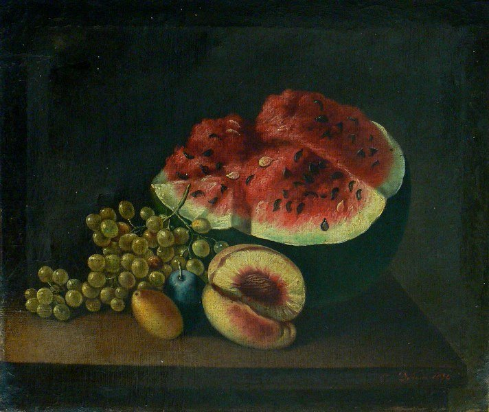 Antique still life with watermelon oil on canvas 1834
