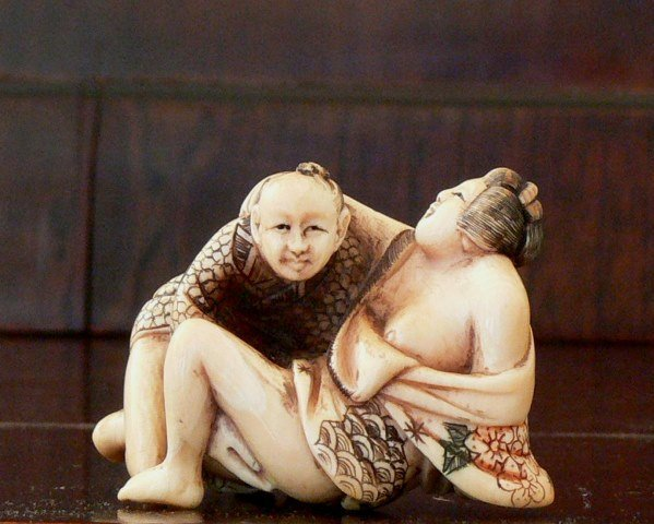 Old Shunga Carved Polychrome Erotica Ca. 20th c. signed