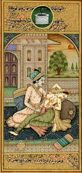 Antique Mughal Miniature Painting Kamasutra Art