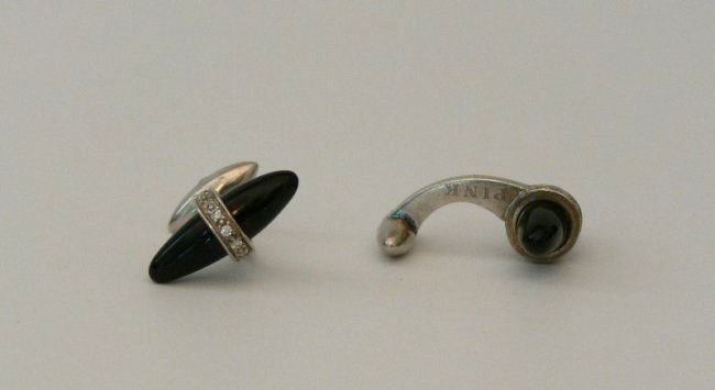Vintage Old Onix and Diamond Cufflinks by THOMAS PINK - 2