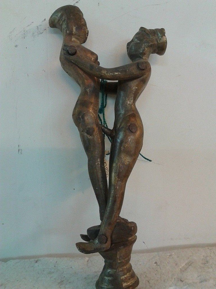 Old Indian Kamasutra erotic couple brass home room