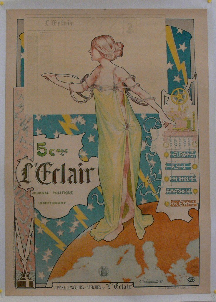 "Original 19th C. French poster ""L'Éclair"" E. Vavalsem"