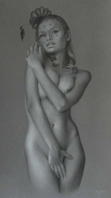 Celina Kirchner, original nude charcoal signed