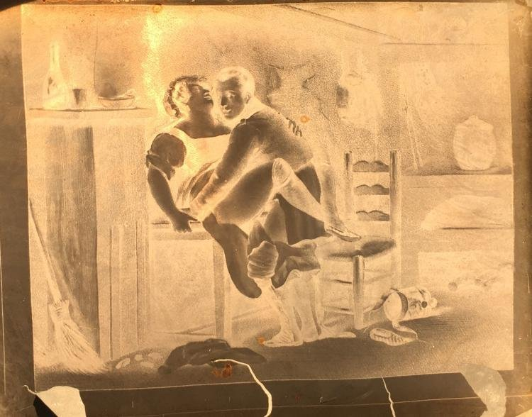 Antique French Glass Transparency with Erotic Scene