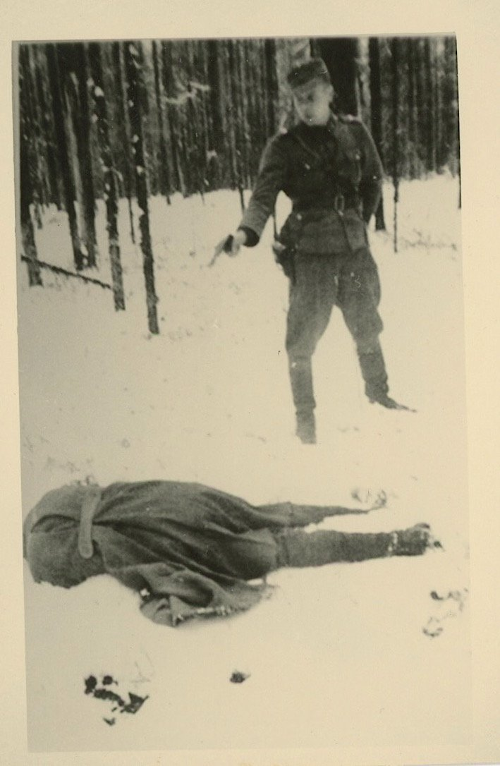 Agfa Lupex Russian being Shooting by German Commander,