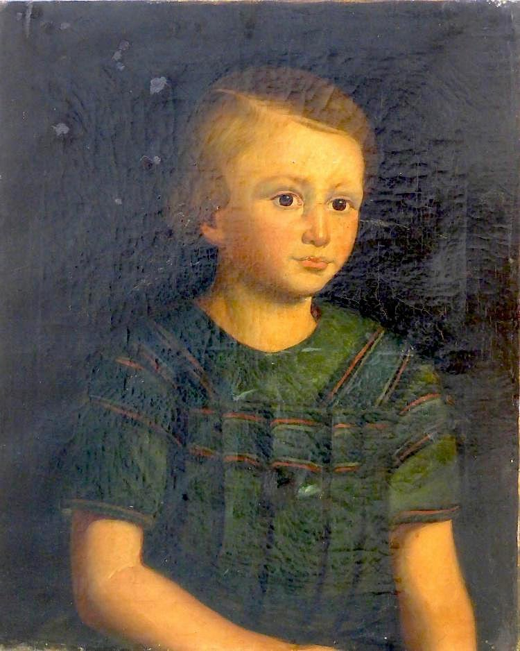 Antique Oil 19th C. Fine Oil with Boy Portrait,