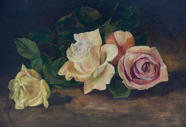 Antique Oil with Roses manner of MARTIN J. HEADE (1819