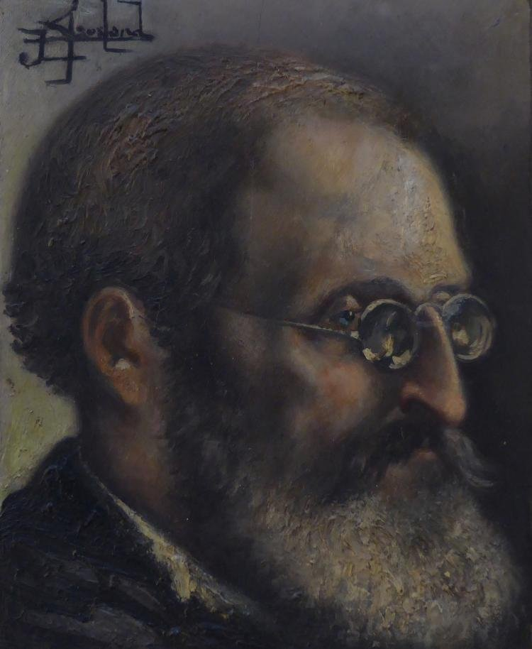 Antique Oil on board Portrait of Sigmund Freud, Signed,
