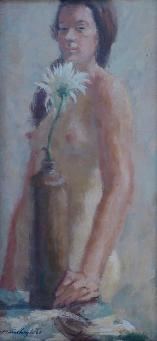 Wonderful vintage oil on canvas with a female nude.