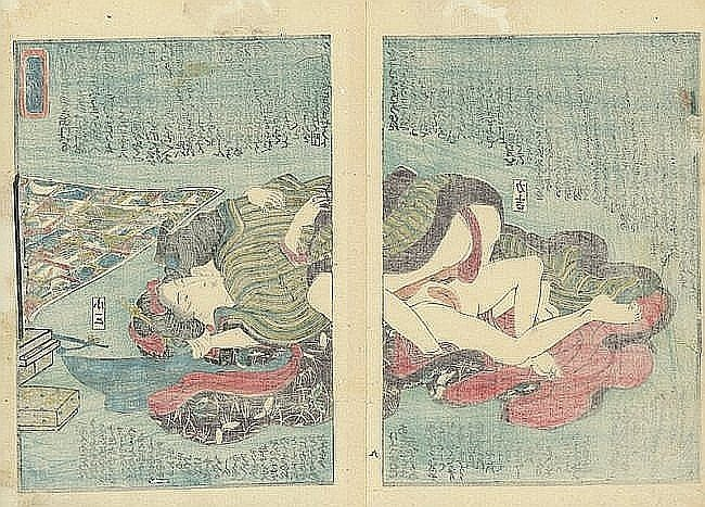 Antique Hiroshige Ca. 1850 colored print Shunga - 3