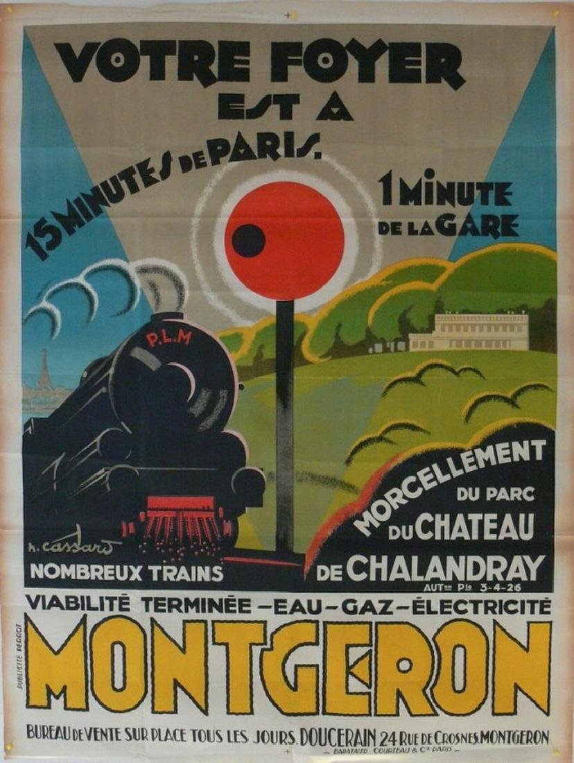 BARATAUD COURTEAU Poster Montgeron Train, 1926