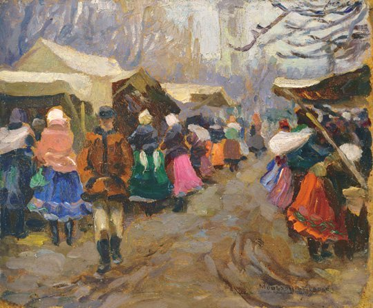 Mousson Tivadar (1887-1946): Cloth market in November