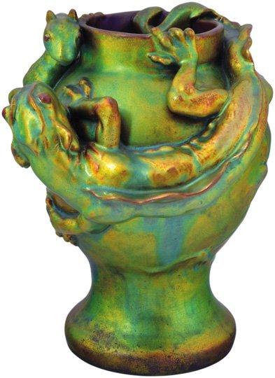 Vase with a basilisk, Zsolnay, 1900