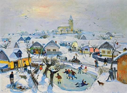 Jancsek Antal (1907-1985): Ice skaters