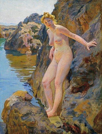 Nádler Róbert (1858-1938): Nude amidst rocks