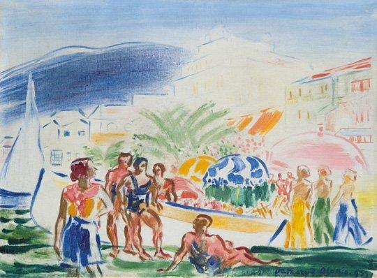 Vaszary János (1867-1939): Seaside in Alassio, 1933