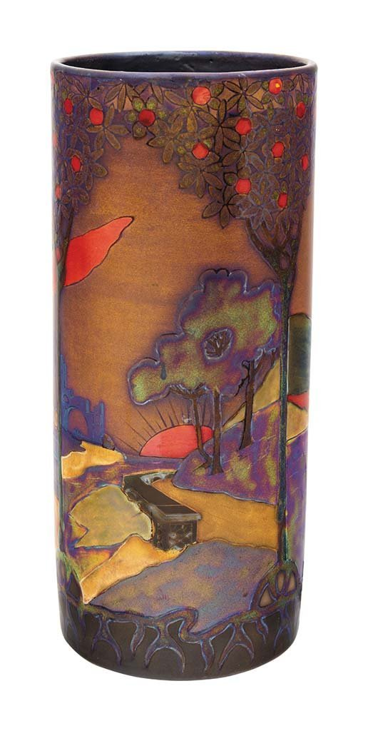 Vase with Romantic landscapes, Zsolnay, 1898-1900