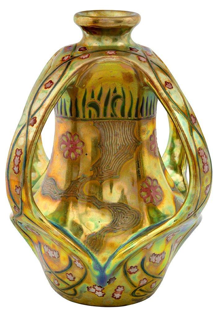 Zsolnay: Vase with flowery ribbon decor, 1903