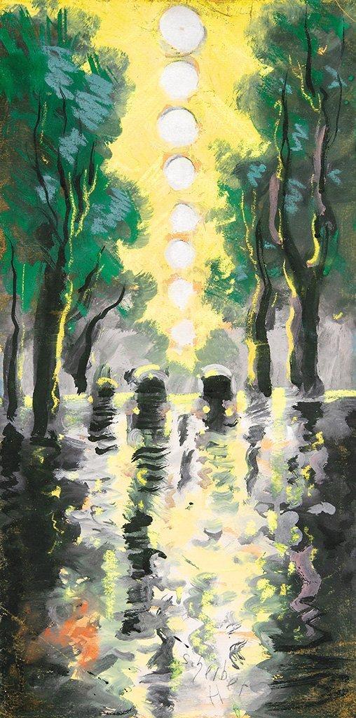 Scheiber Hugó (1873-1950): Rainy street
