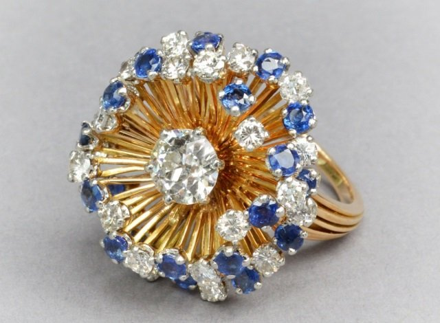 18k Gold, Sapphire, & Diamond Ring