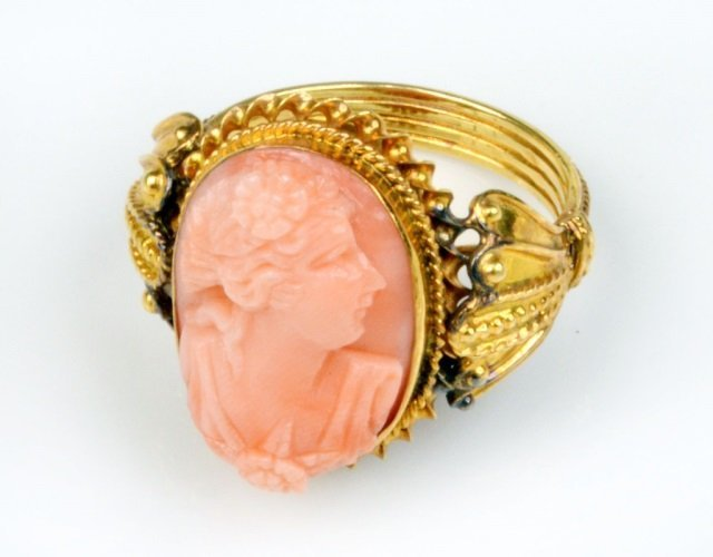 Victorian 14k Gold and Coral Cameo Ring