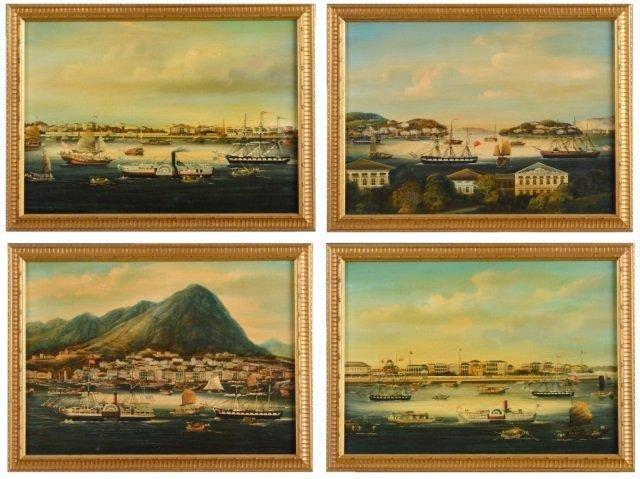 Set of Four Hong School Paintings