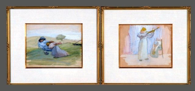 Pair of Impressionist Style Watercolor Paintings