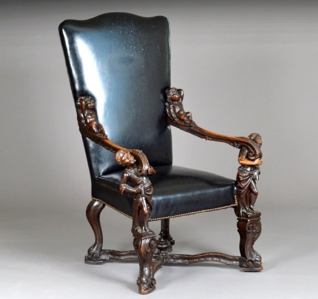 Italian Mannerist Style Mahogany Carved Armchair