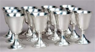 Set of Twelve American Sterling Silver Wine Cups