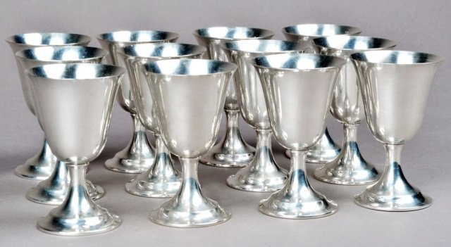Set of Twelve American Sterling Silver Wine Cups