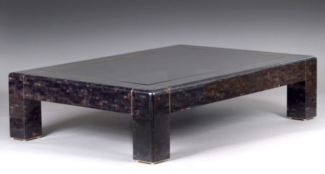 Karl Springer  Tasselated Tortoise Shell Low Table