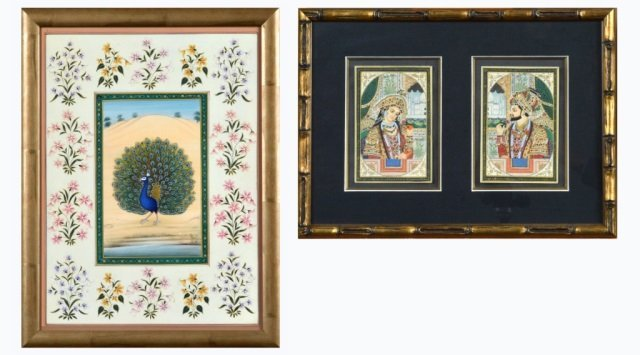 Two Indian Framed Watercolor Paintings