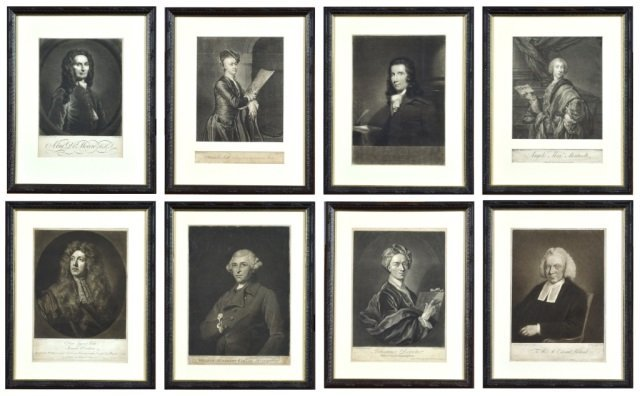 Group of Eight English Framed Portrait Engravings