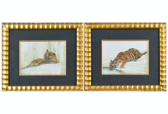 Pair of Watercolor Paintings of Tigers
