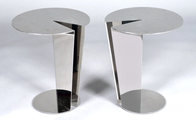 Pair of Mid Century Modern Chrome Occasional Table