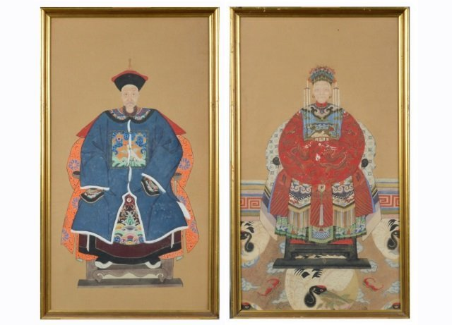 Pair of Asian Ancestral Portraits